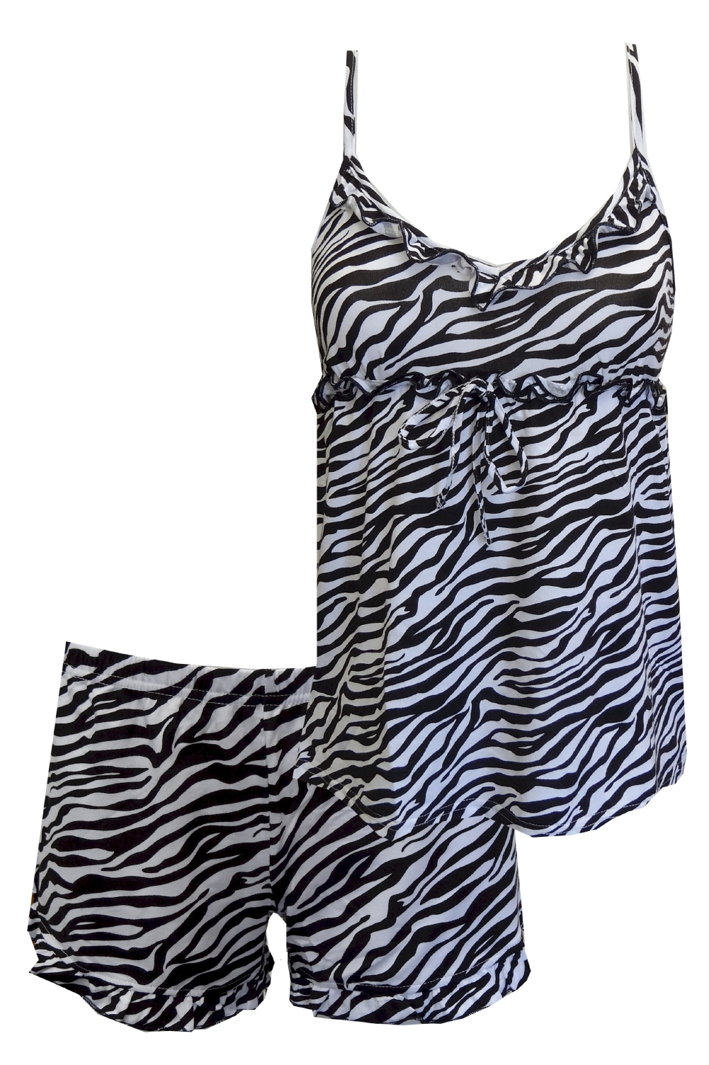 Black And White Zebra Babydoll Shortie Pajamas for women