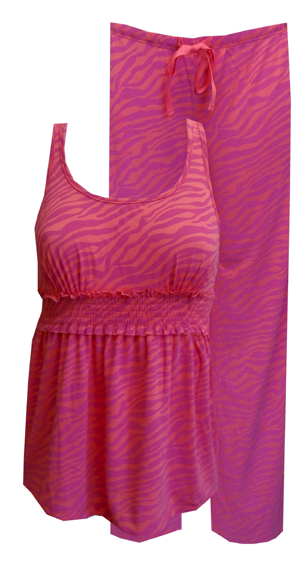 Coral and Hot Pink Zebra Babydoll Pajamas for women