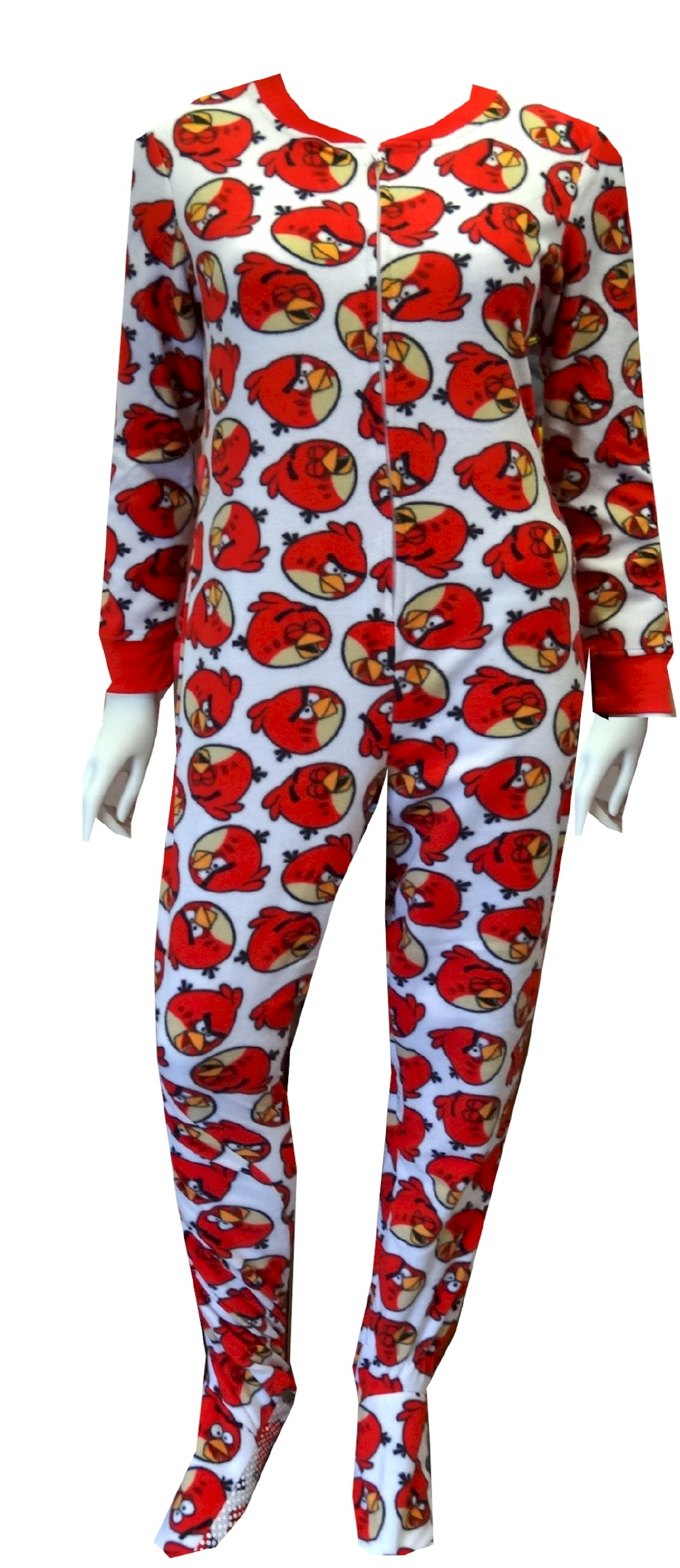 Angry Birds Big Red Gripper Bottom Footie Onesie Pajamas for Women