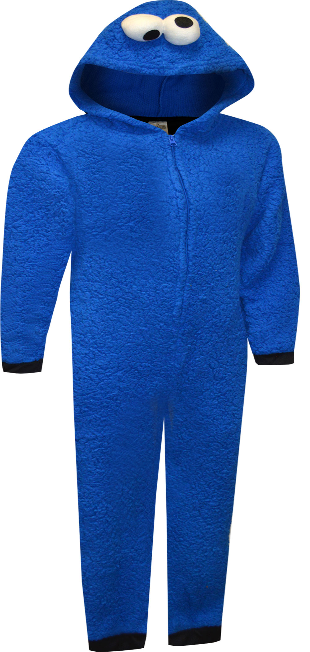 Image of Sesame Street Cookie Monster Hooded Union Suit Kids Pajamas for boys