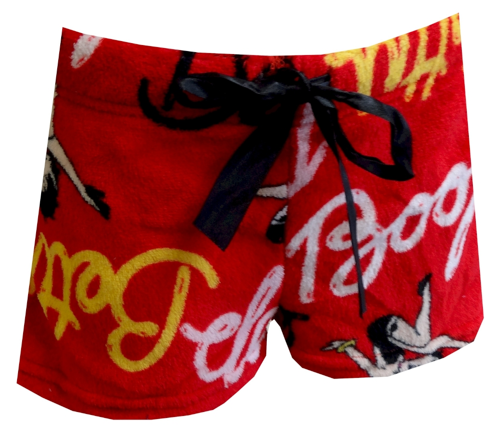 Womens Betty Boop Signature Red Plush Pajama Shorts