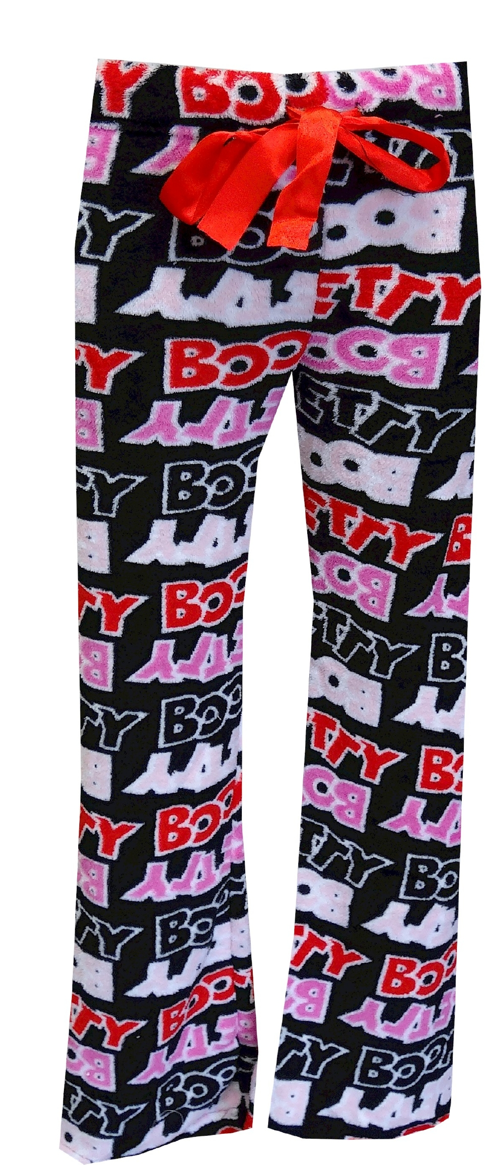 Image of Betty Boop Logo Lettering Classic Black Plush Lounge Pants for women
