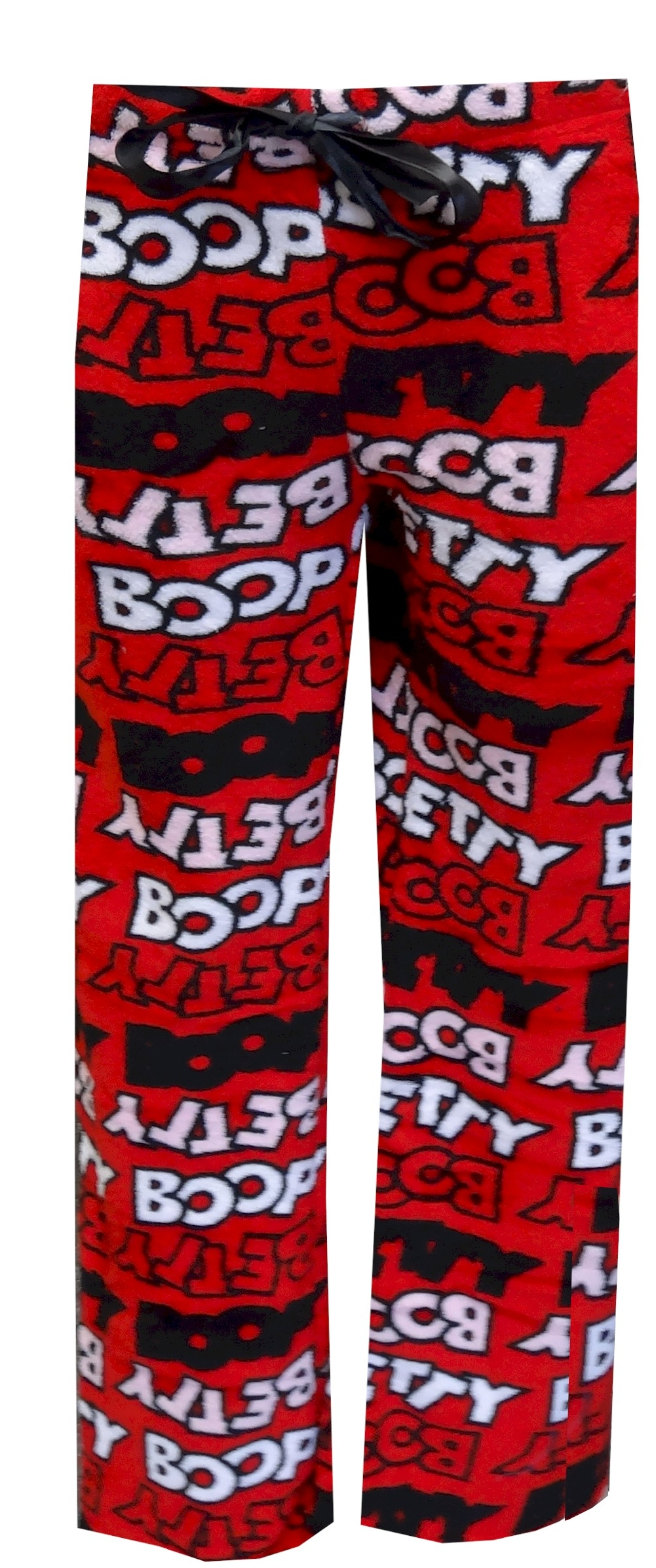 Betty Boop Logo Lettering Classic Red Plush Lounge Pants for women