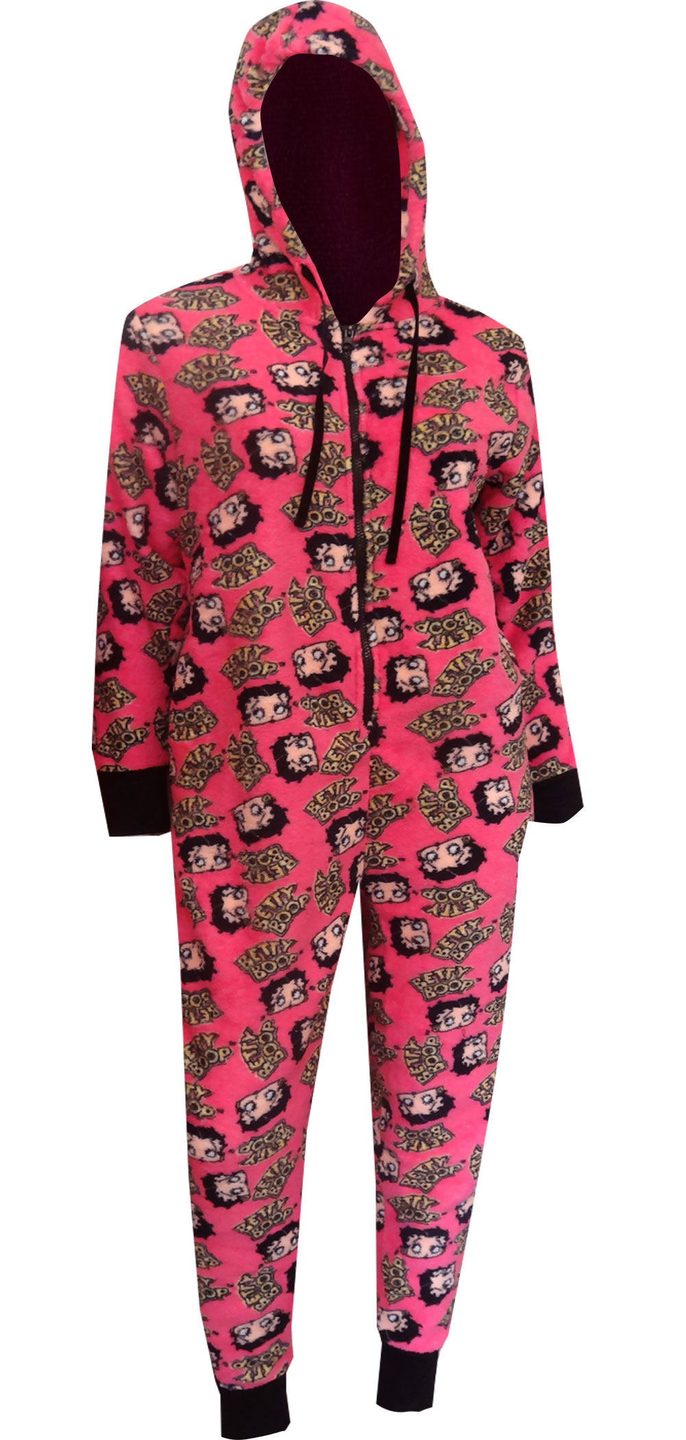 Betty Boop Hot Pink Plush One Piece Hoodie Pajama for women