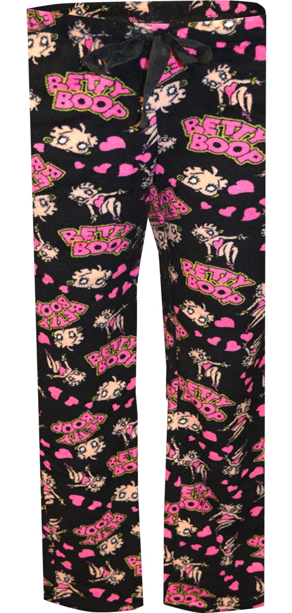 Image of Betty Boop Black Plush Lounge Pants for women