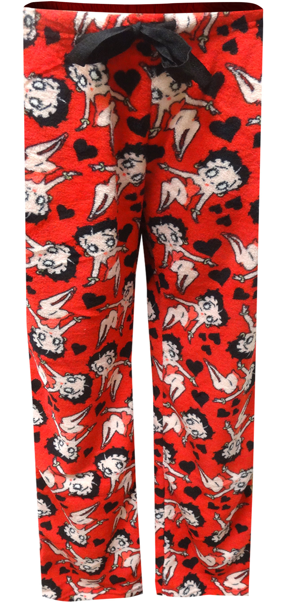 Image of Betty Boop Signature Red Plush Plus Size Lounge Pants for women