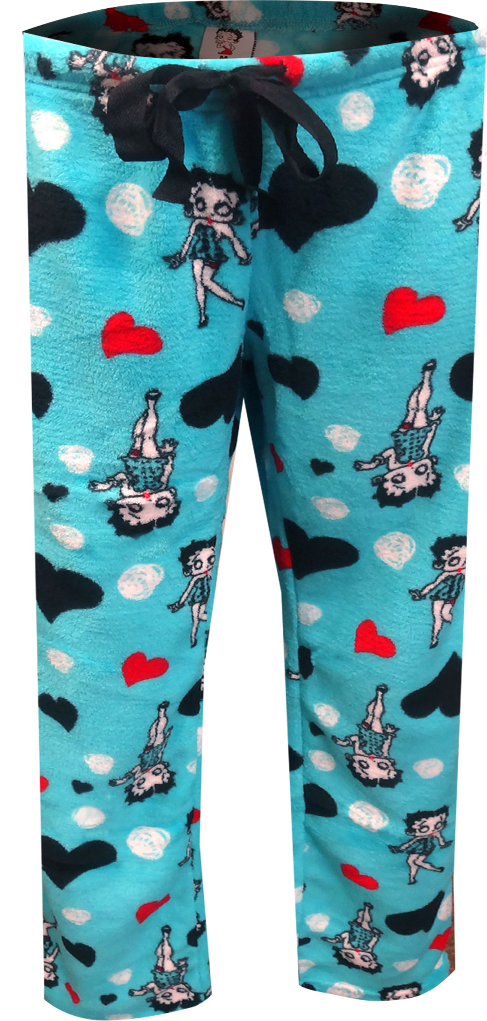 Image of Betty Boop Signature Turquoise Plush Plus Size Lounge Pants for women