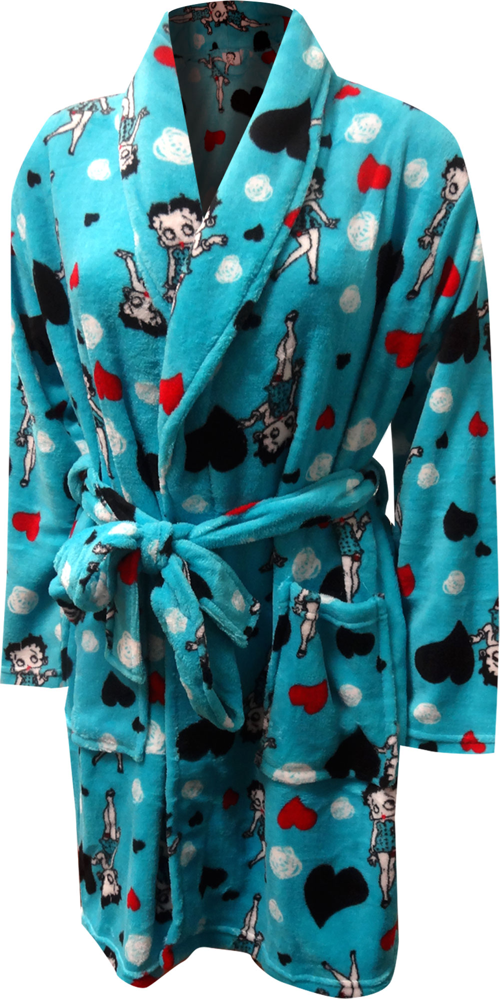 Image of Betty Boop Turquoise Super Soft Plush Robe for women