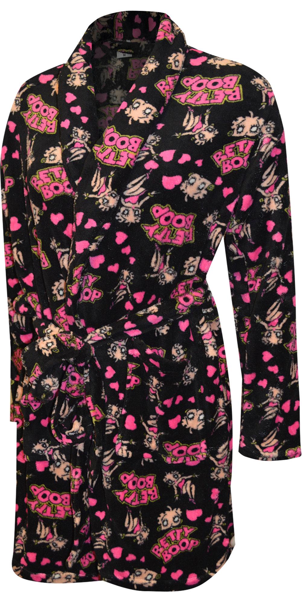 Image of Betty Boop Black Super Soft Plus Size Plush Robe for women