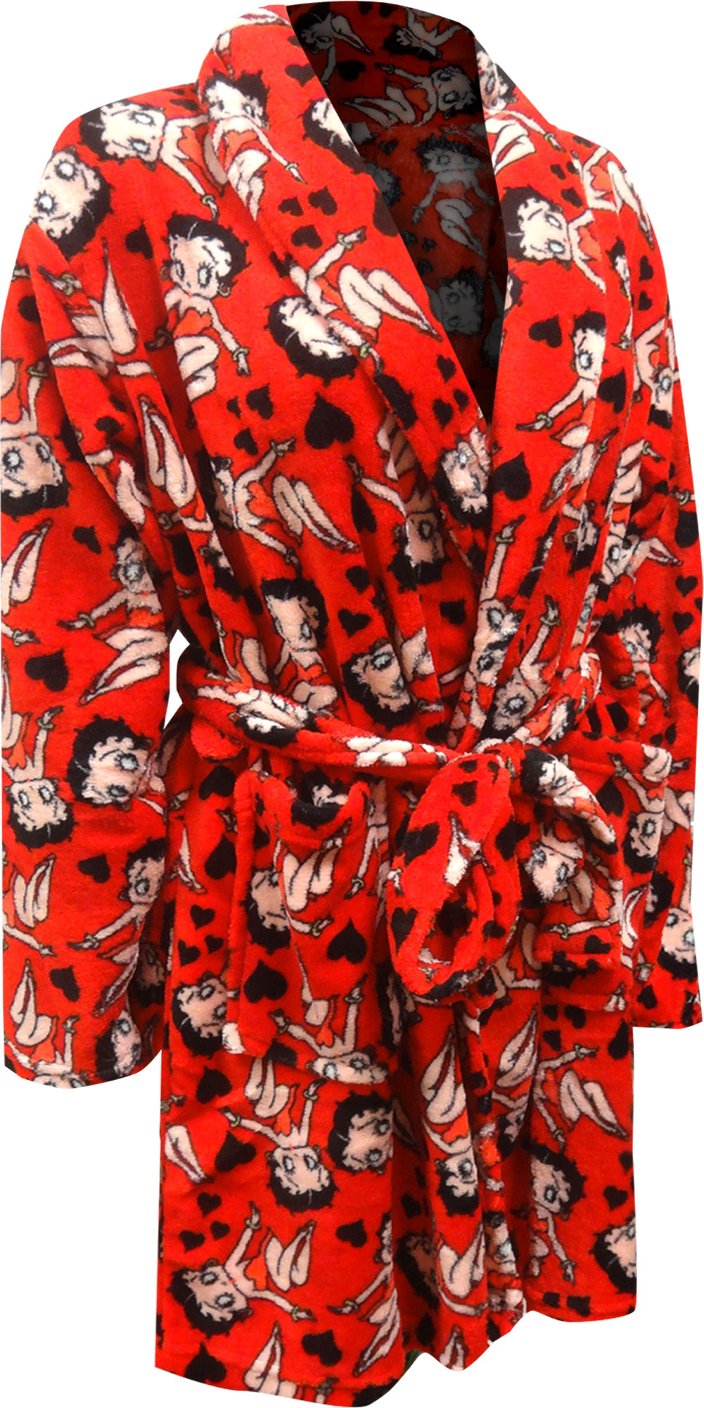 Image of Betty Boop Red Plus Size Super Soft Plush Robe for women