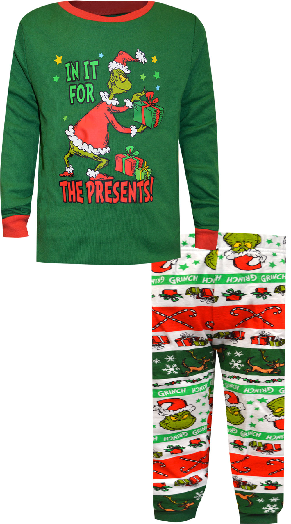Image of Dr. Seuss The Grinch In It for the Presents Boys Pajamas for boys