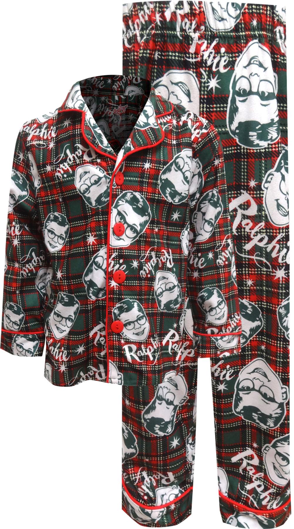 Image of Christmas Story Ralphie Plaid Flannel Holiday Kids Pajamas for boys