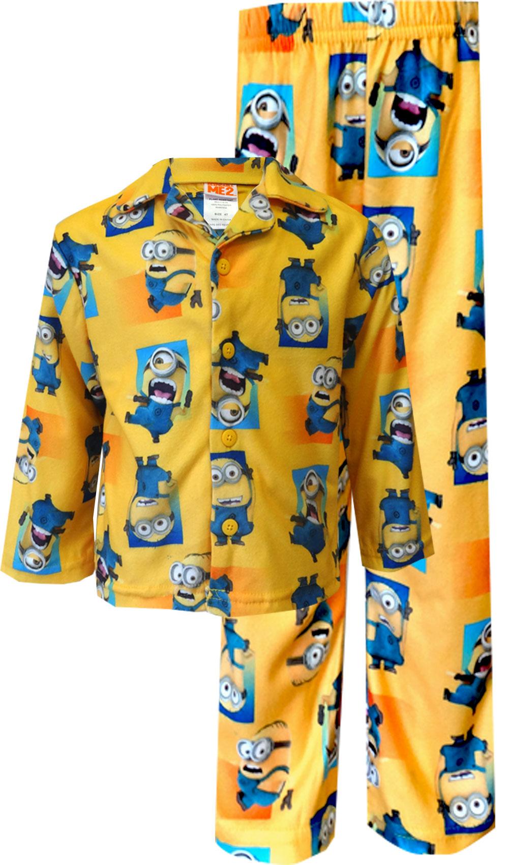 Image of Despicable Me Minion Button Front Toddler Pajamas for boys