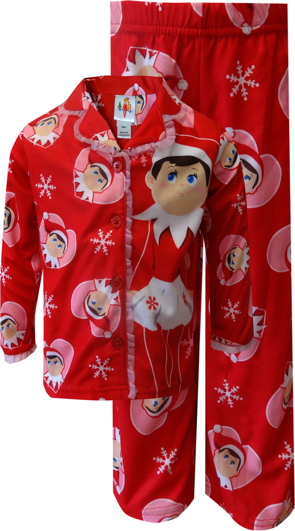Image of I Love My Elf on the Shelf Snowflake Red Holiday Pajamas for girls