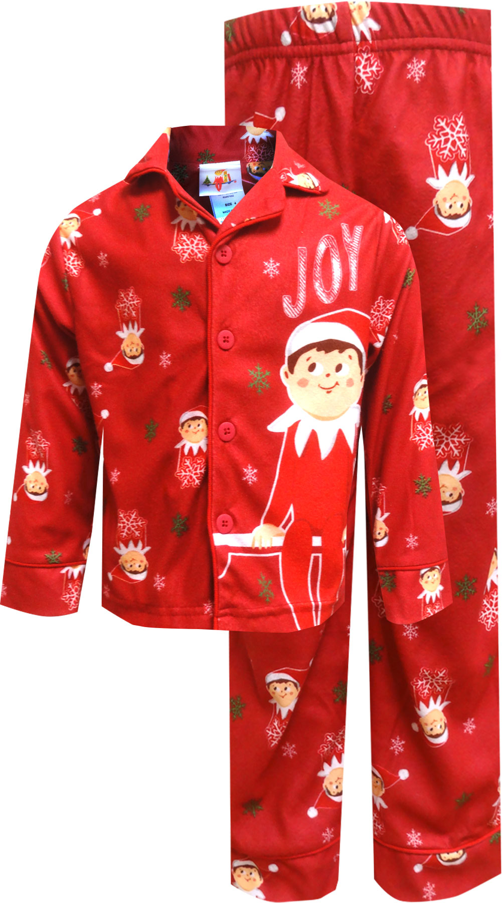 Image of Elf on the Shelf Red Christmas Pajamas for boys