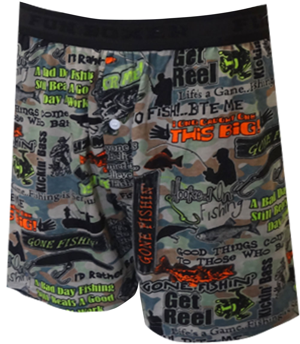 Image of Fish Phrases Camo Boxer Shorts for men