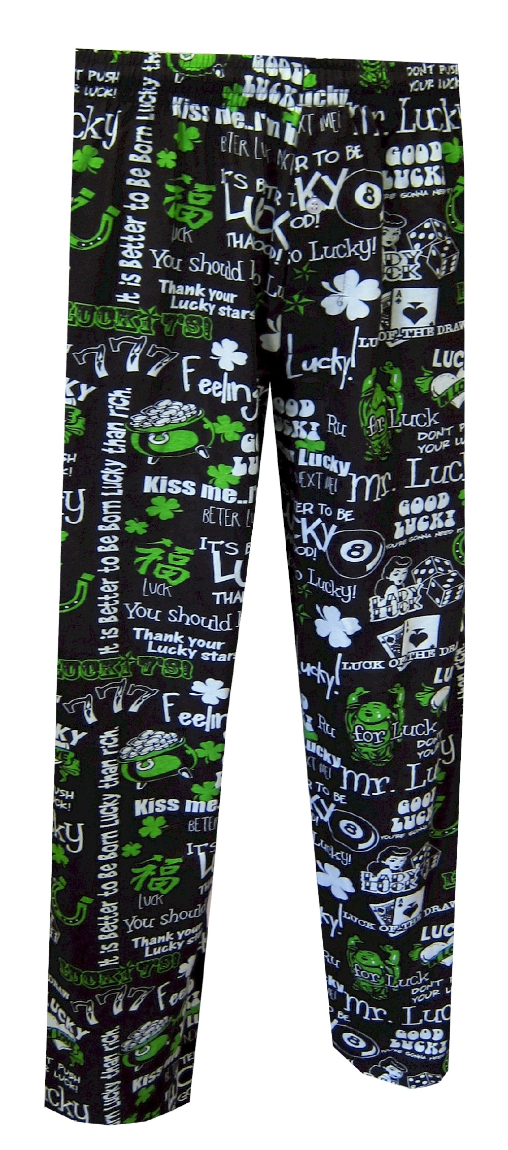 Lucky Phrases Black Lounge Pants for men
