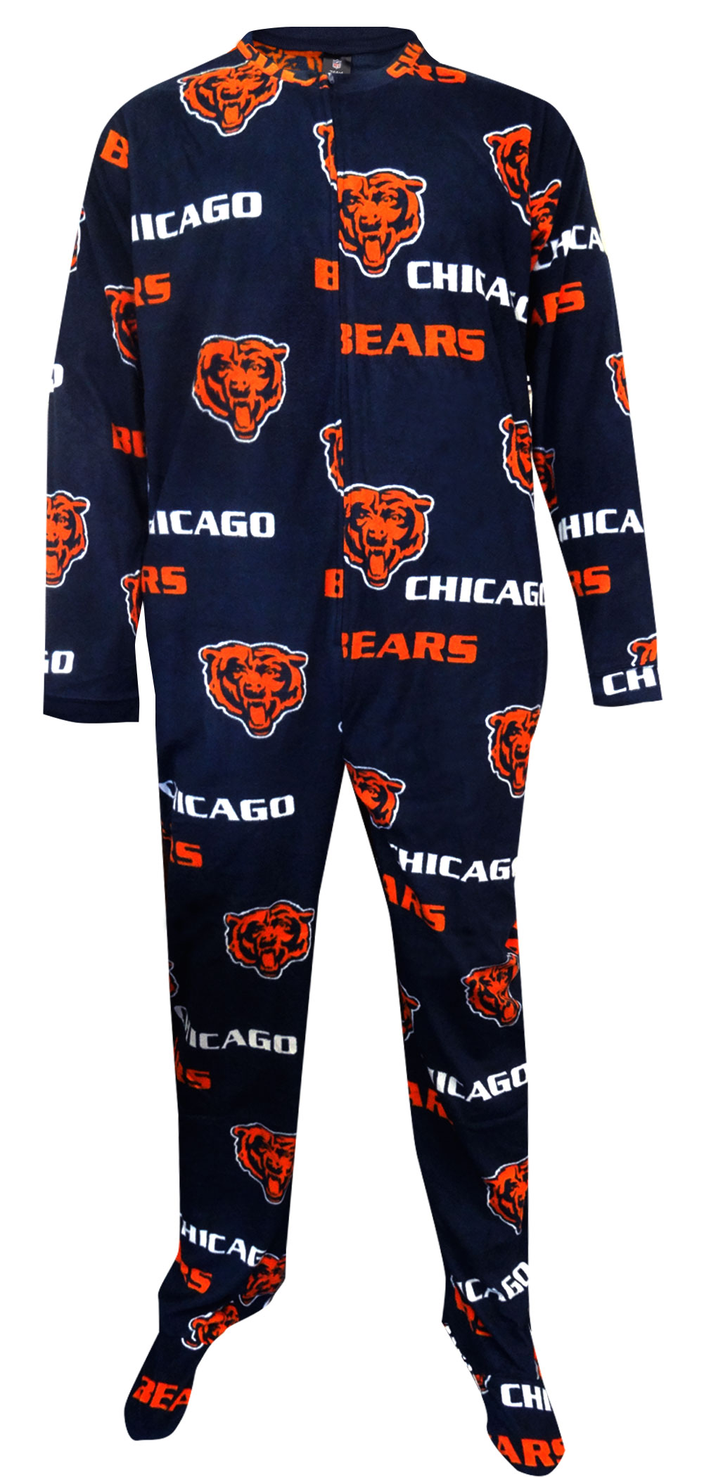 Image of Chicago Bears Guys Super Soft Fleece One Piece Footie Pajama for men