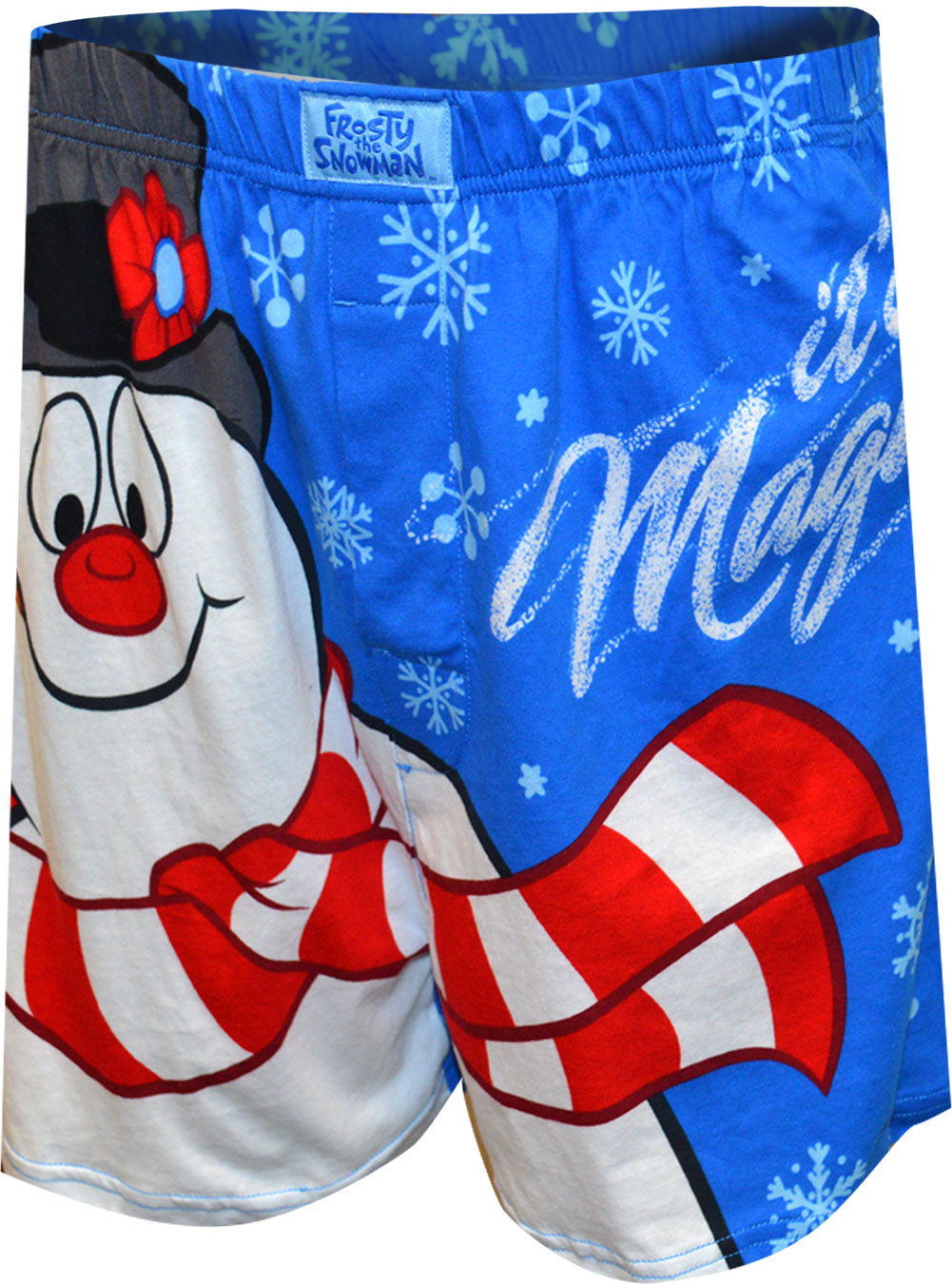 Image of Blue It's Magic Frosty The Snowman Christmas Boxer Shorts for Men