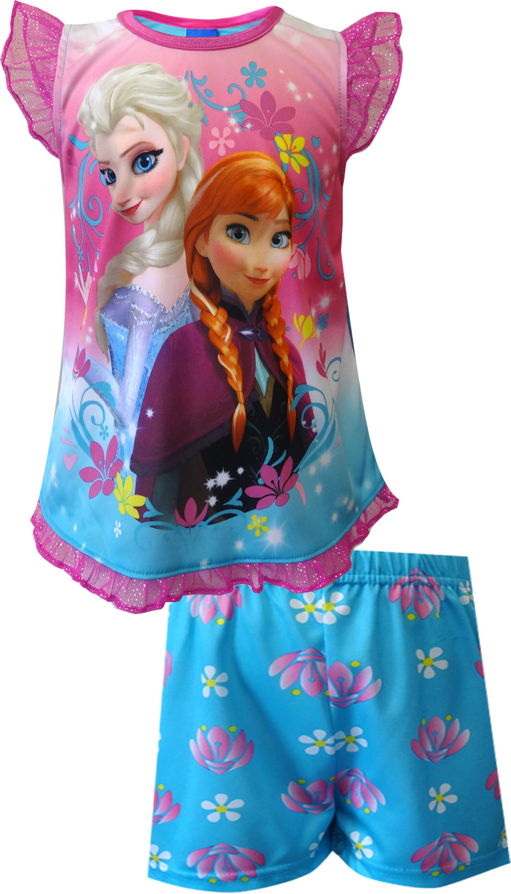 Image of Disney Frozen Princesses Elsa and Anna Toddler Shortie Pajama for girls