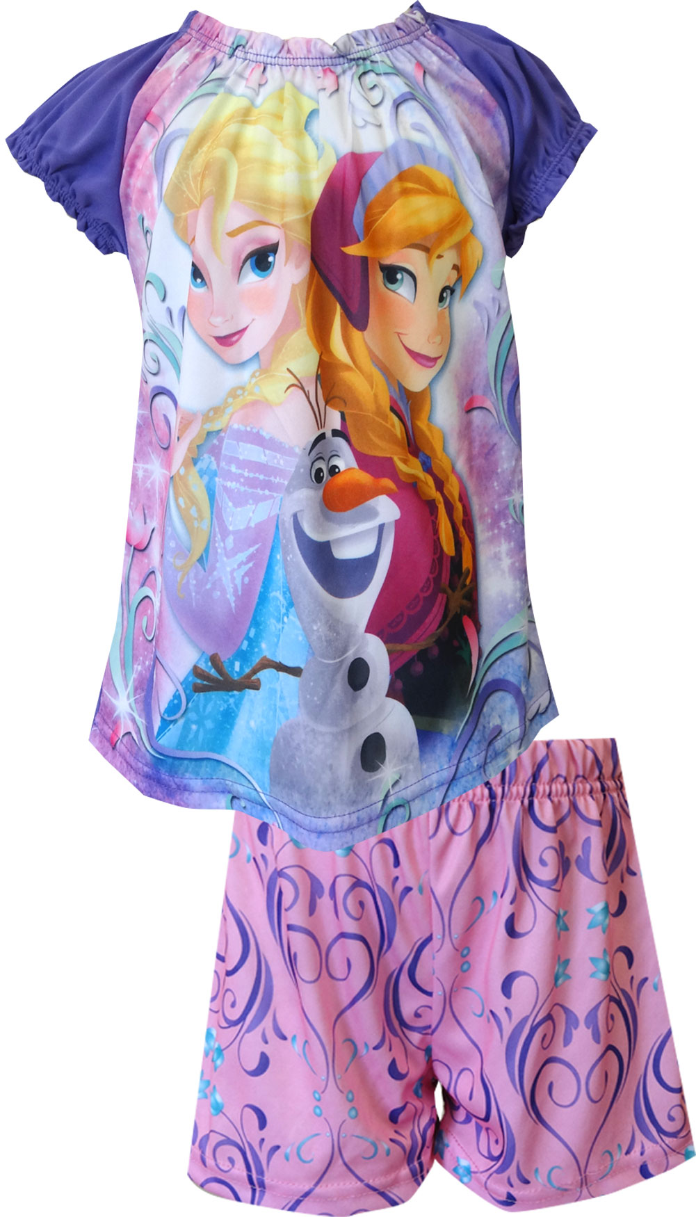 Disney Girls Frozen Princesses Elsa and Anna with Olaf Shortie Pajama