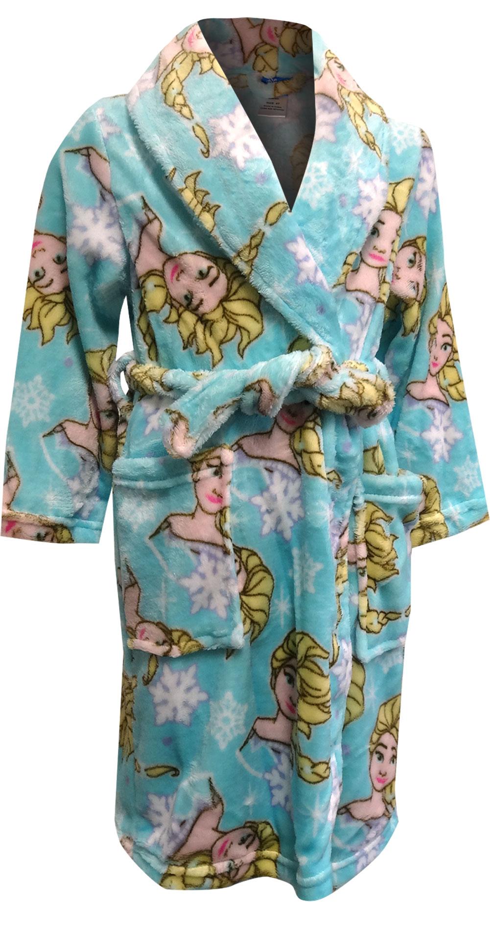 Image of Disney Frozen Elsa Cozy Blue Plush Toddler Robe for girls