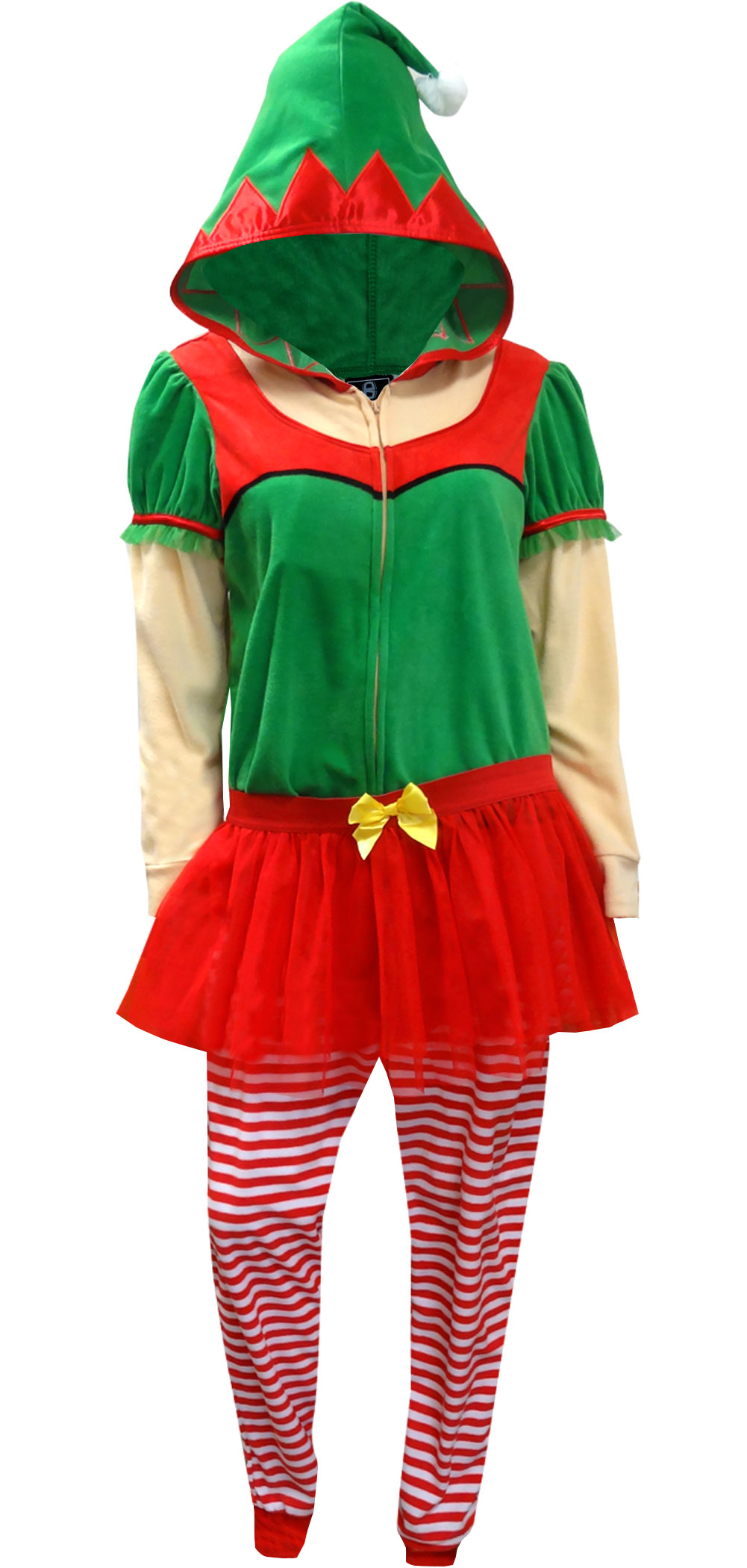 Image of Christmas Elf Onesie Hooded Skirted Women's Union Suit Pajama for women