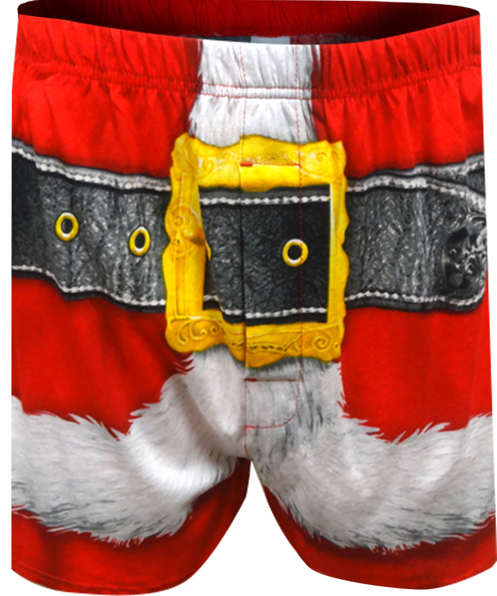 Image of Santa's Christmas Boxer Shorts with Hat for men