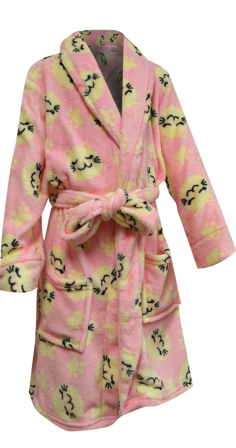 Image of Kitty Cats Girls Plush Pink Robe for girls