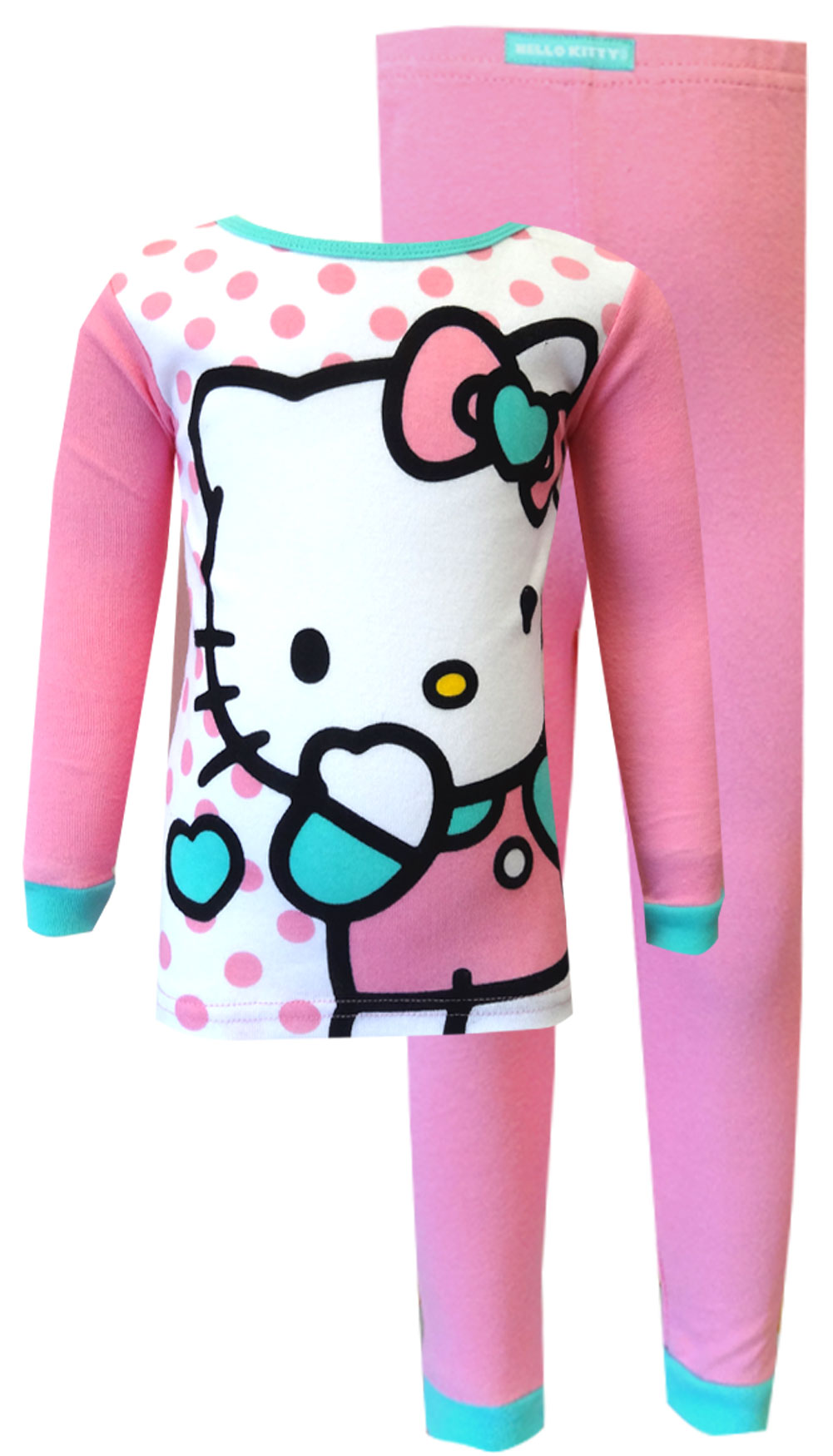 Image of Hello Kitty Pink Cotton Toddler Pajama Set for girls