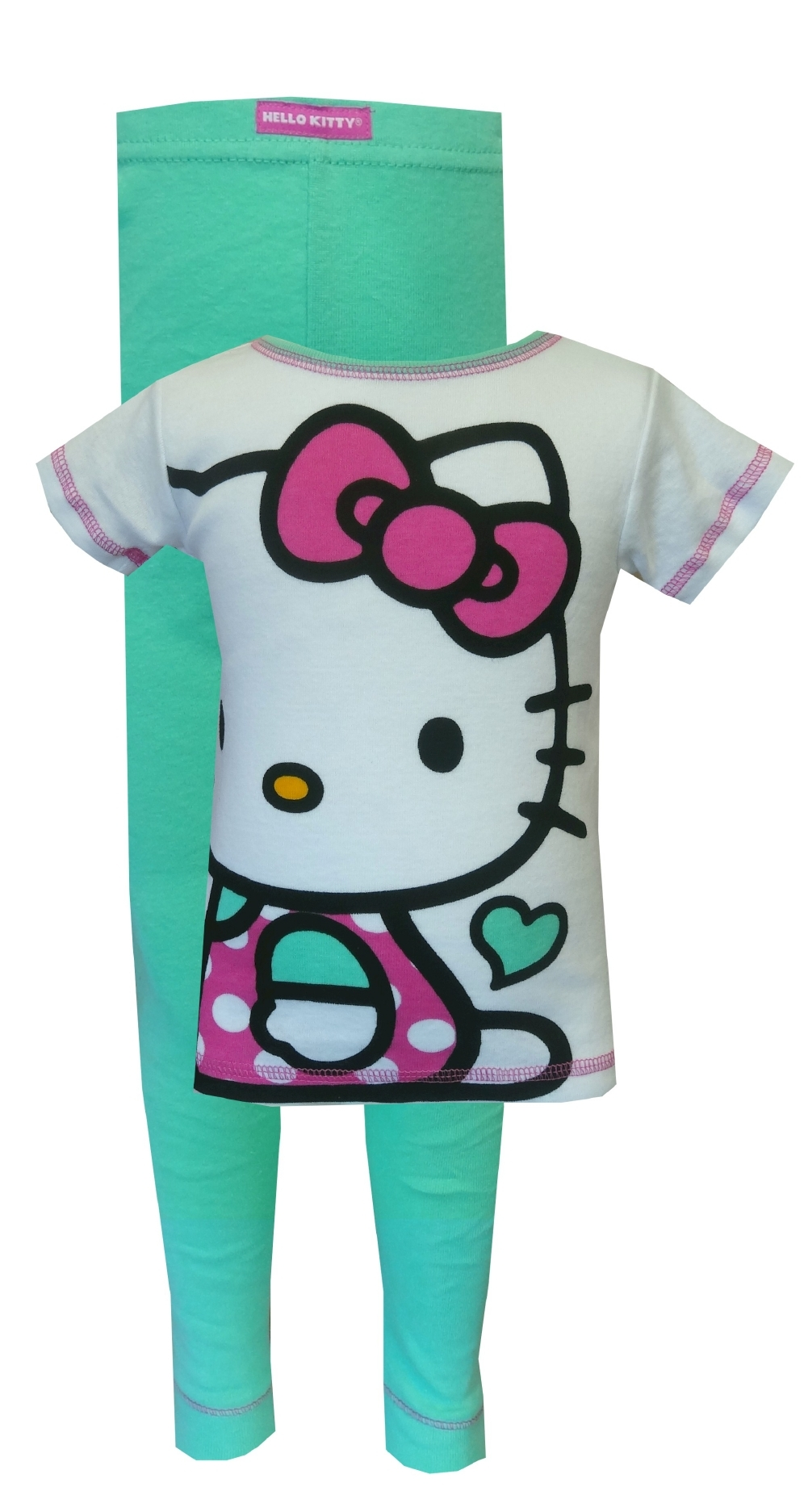 Hello Kitty Pink and Mint Green Pajama Set for girls