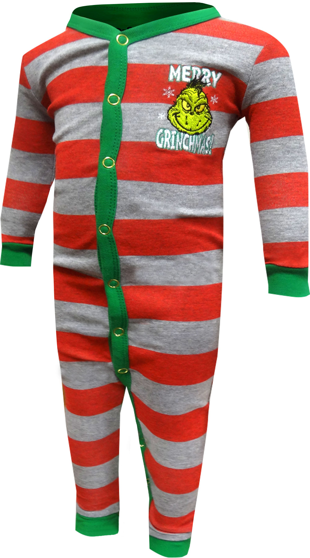 Image of Dr. Seuss The Grinch Merry Grinchmas Infant Union Suit Pajamas for boys