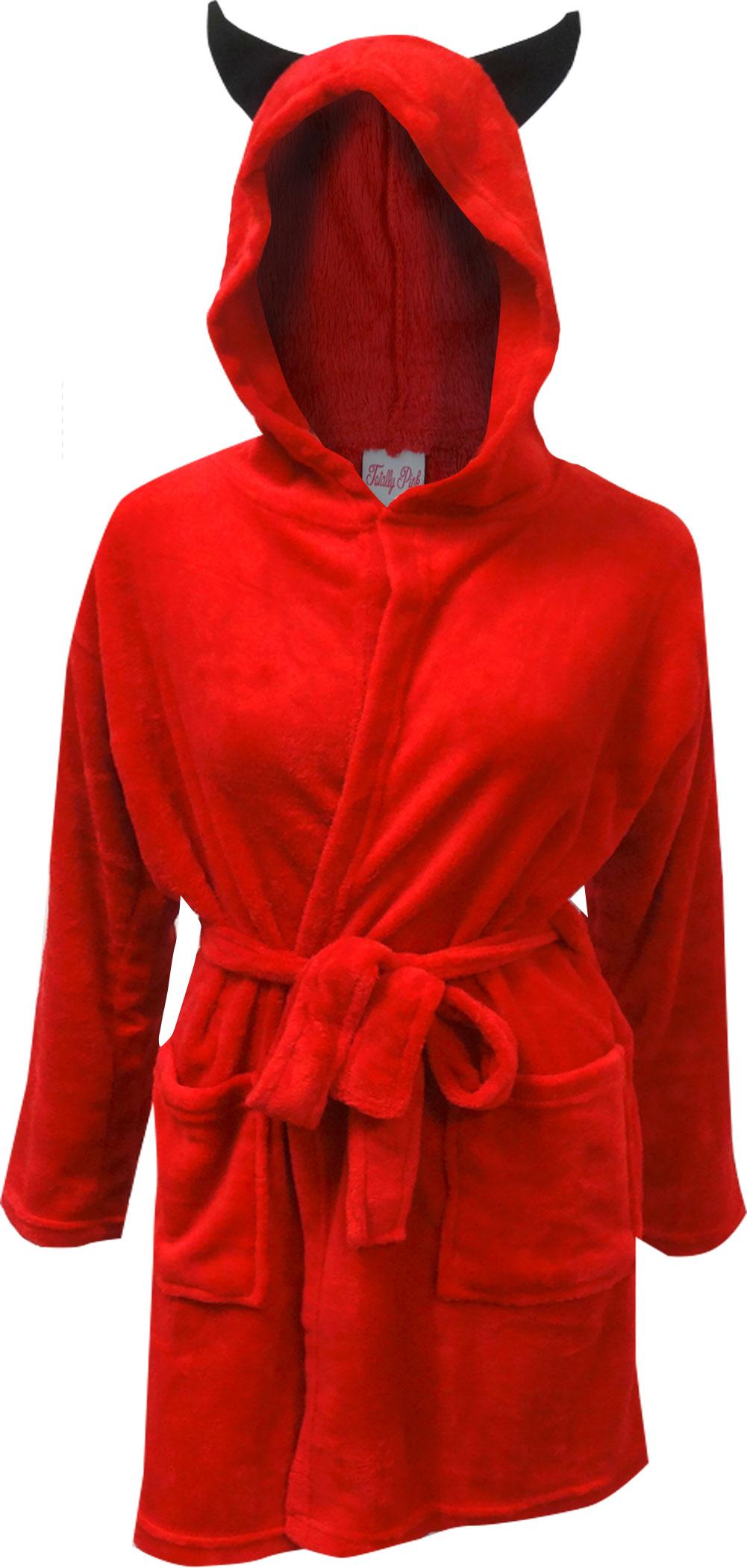 Image of Little Red Devil Hooded Plush Robe for women