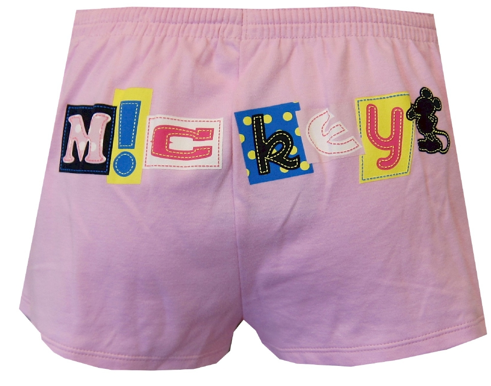 Pink Patchwork Mickey Mouse Sleep Shorts for women