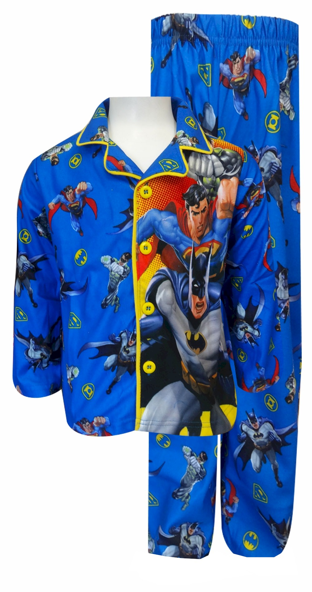 Image of Dc Comics Justice League Characters Button Front Pajama for boys