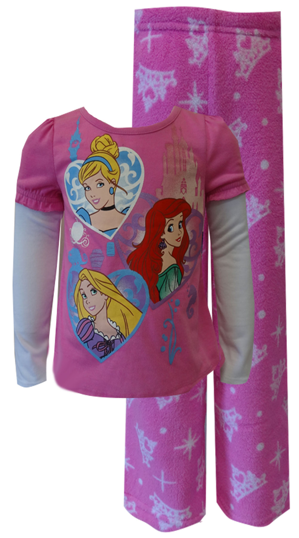 Image of Disney Princess Ariel, Rapunzel, Cinderella Toddler Plush Pajama for girls