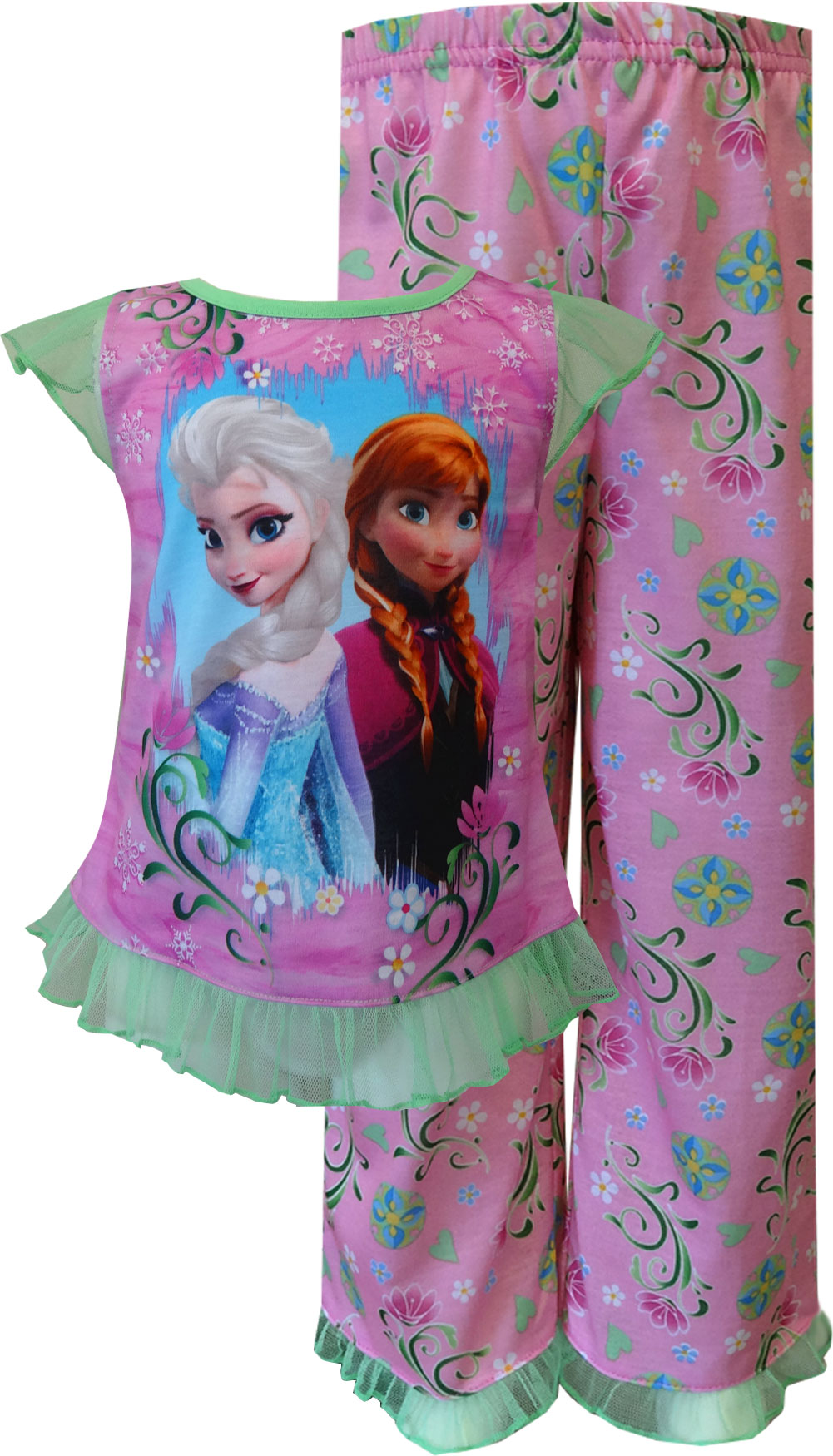 Image of Disney Frozen Princesses Elsa and Anna Spring Garden Toddler Pajama for girls