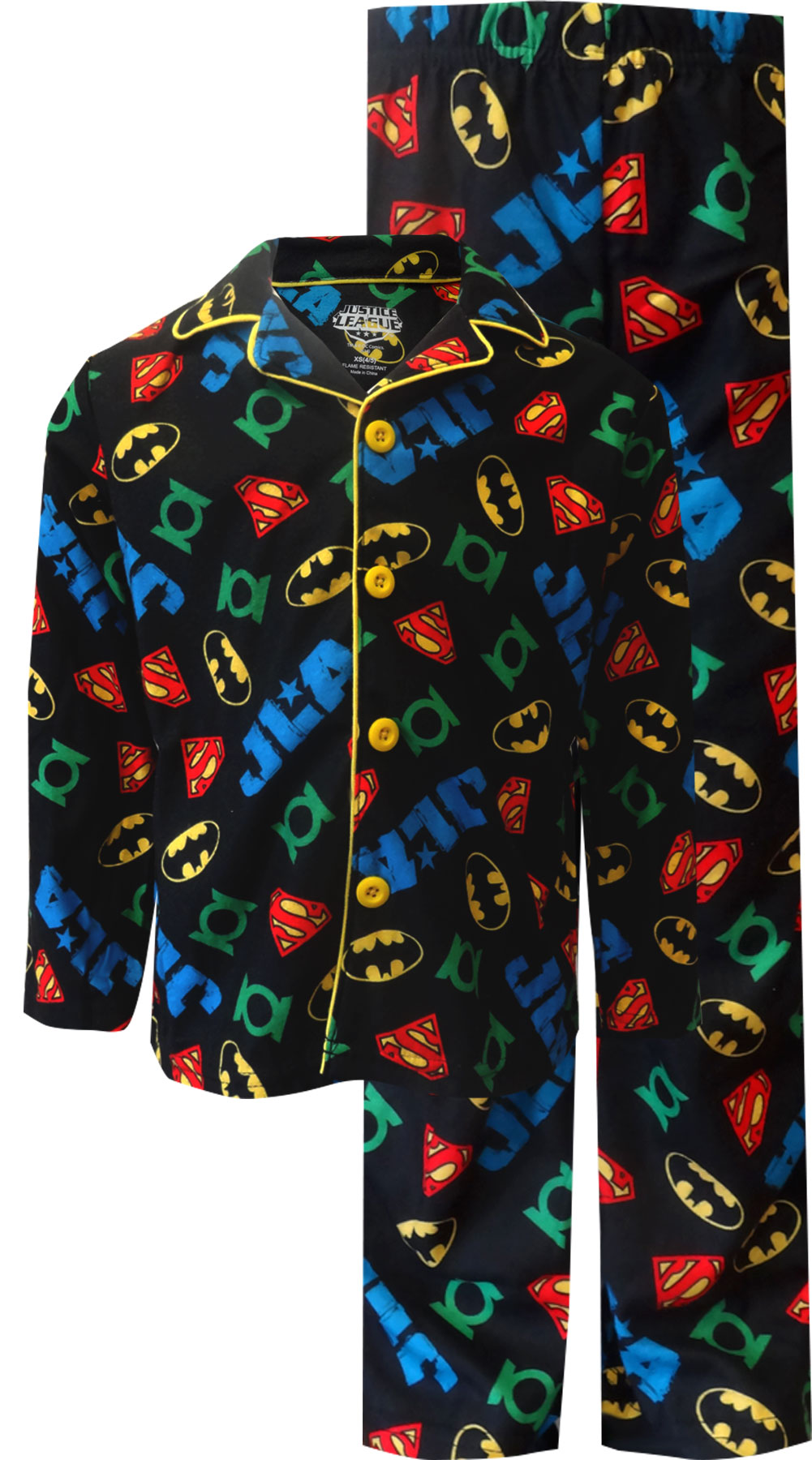 Image of Dc Comics Justice League Traditional Coat Style Pajama for boys