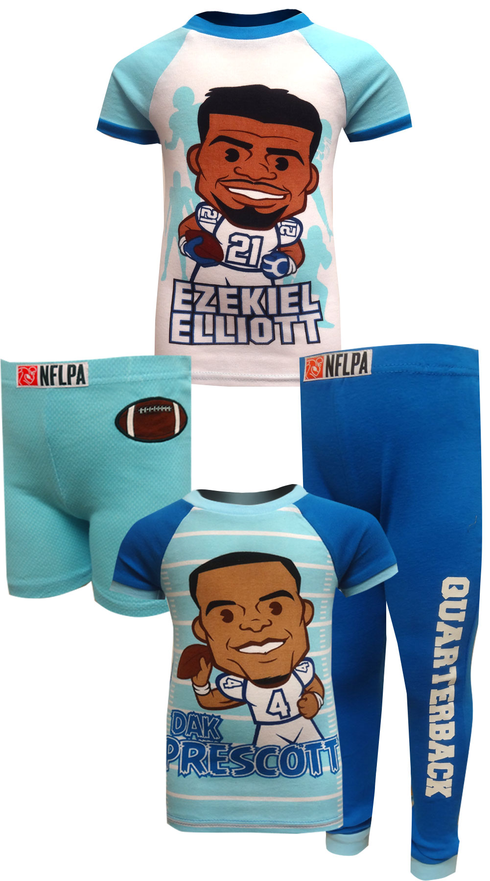 Image of Dallas Cowboys Ezekiel Elliott and Dak Prescott Pajamas for boys