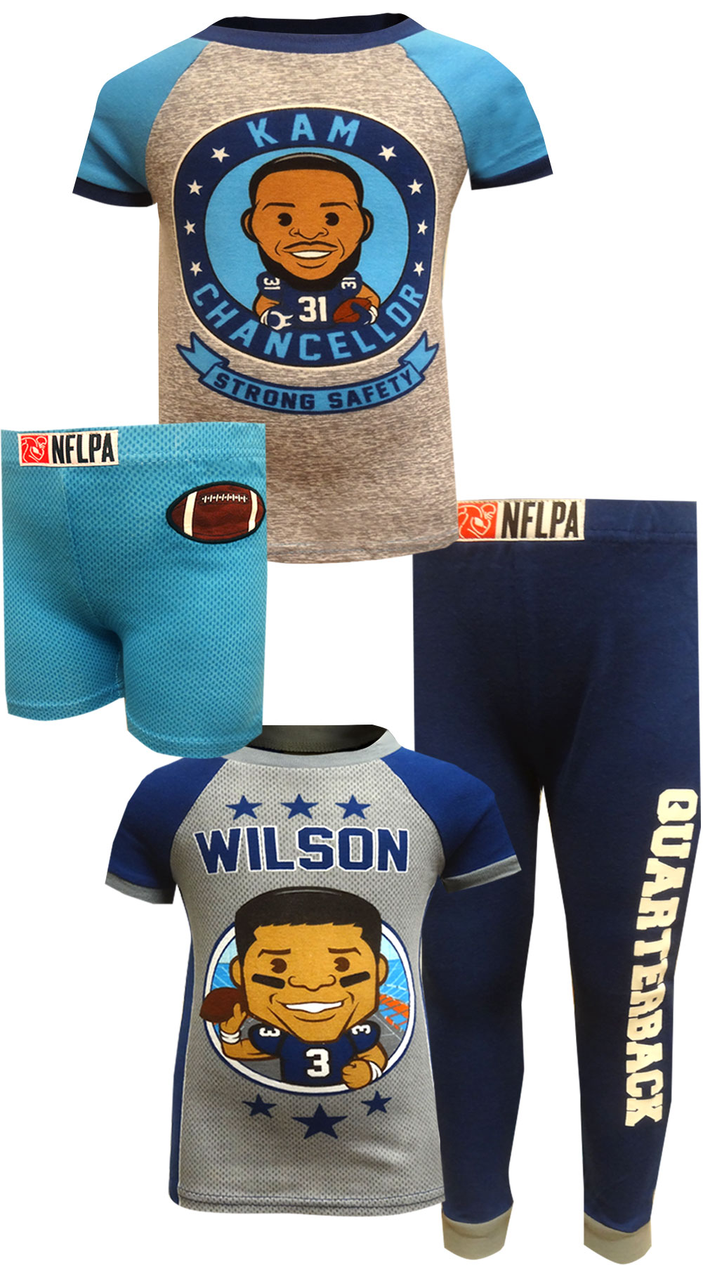 Image of NFLPA Kam Chancellor and Russell Wilson 4 Piece Pajama Set for boys