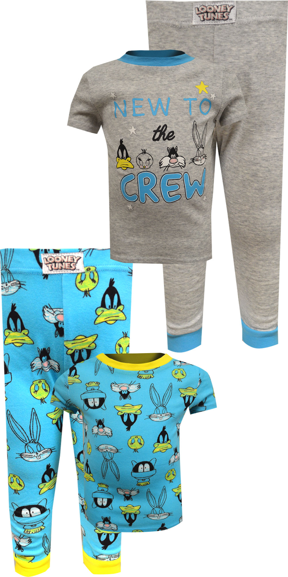 Image of Looney Tunes New to the Crew Cotton 4 Pc Infant Pajama for boys
