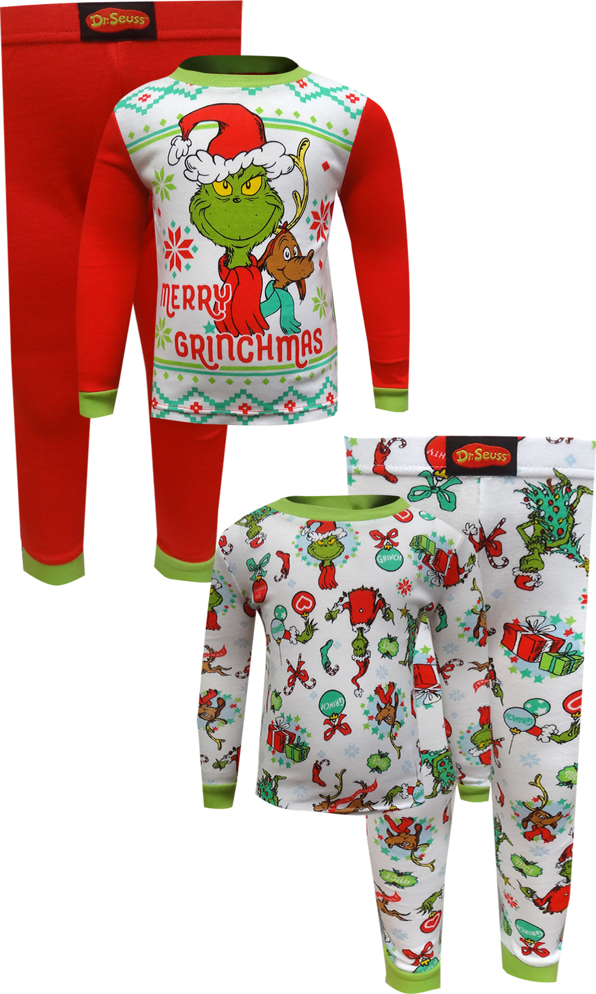 Image of Dr. Seuss The Grinch 4 Piece Cotton Toddler Pajamas for boys