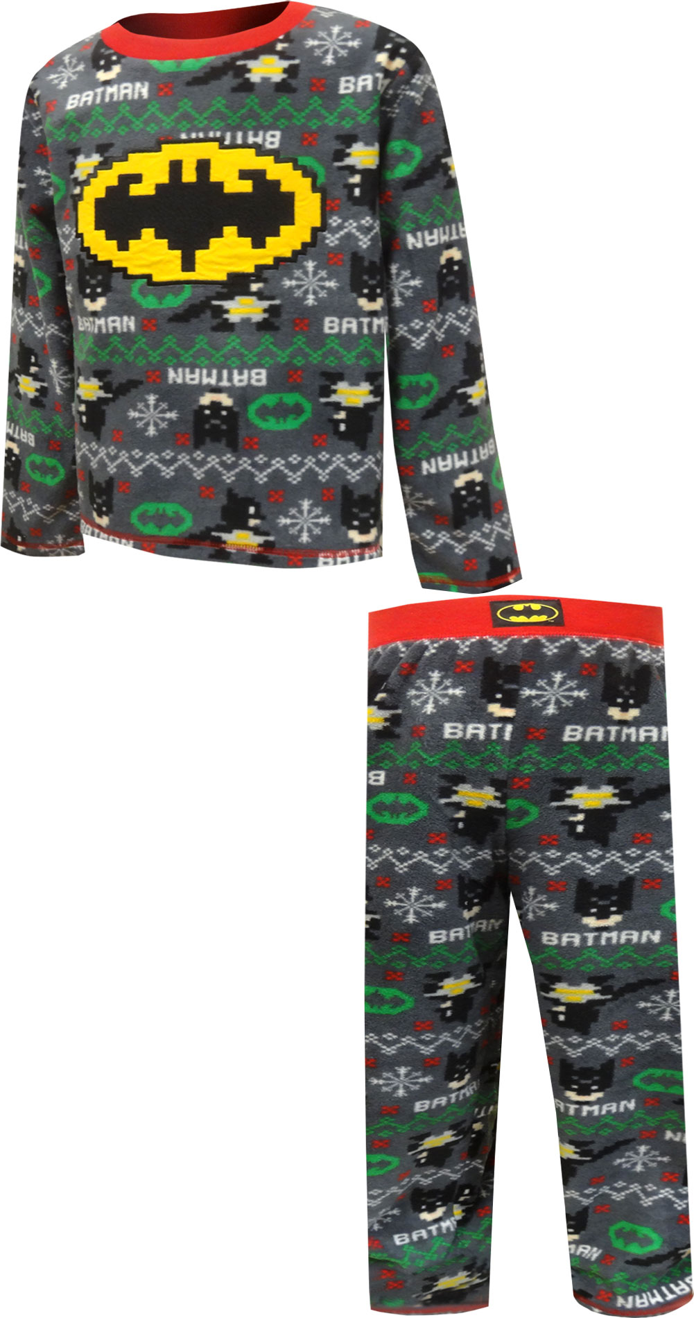 Image of DC Comics Batman Christmas Fair Isle Fleece Pajamas for boys