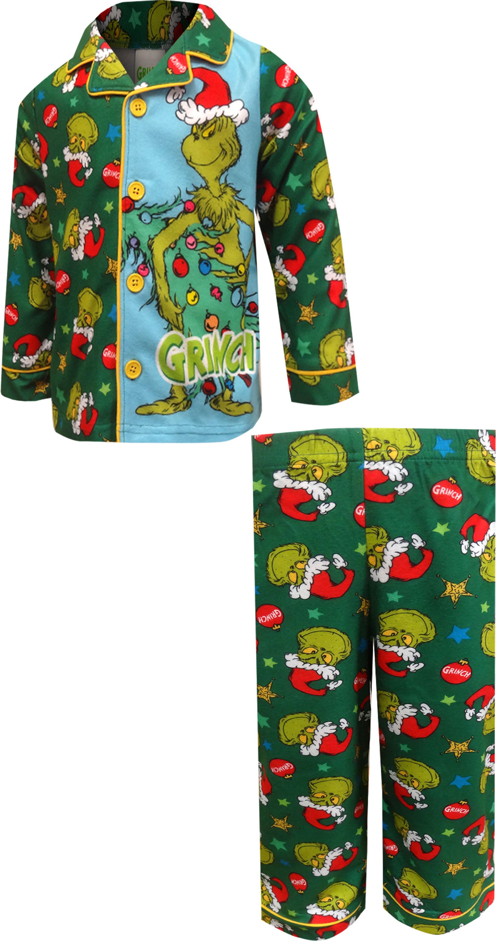 Image of Dr. Seuss The Grinch Traditional Toddler Pajamas for boys