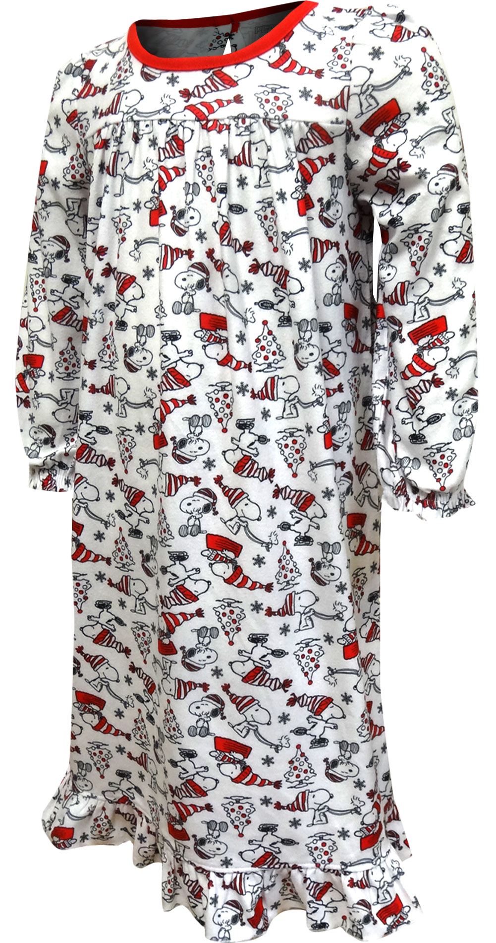 Image of Holiday Fun Snoopy Christmas Flannel Nightgown for Toddler Girls