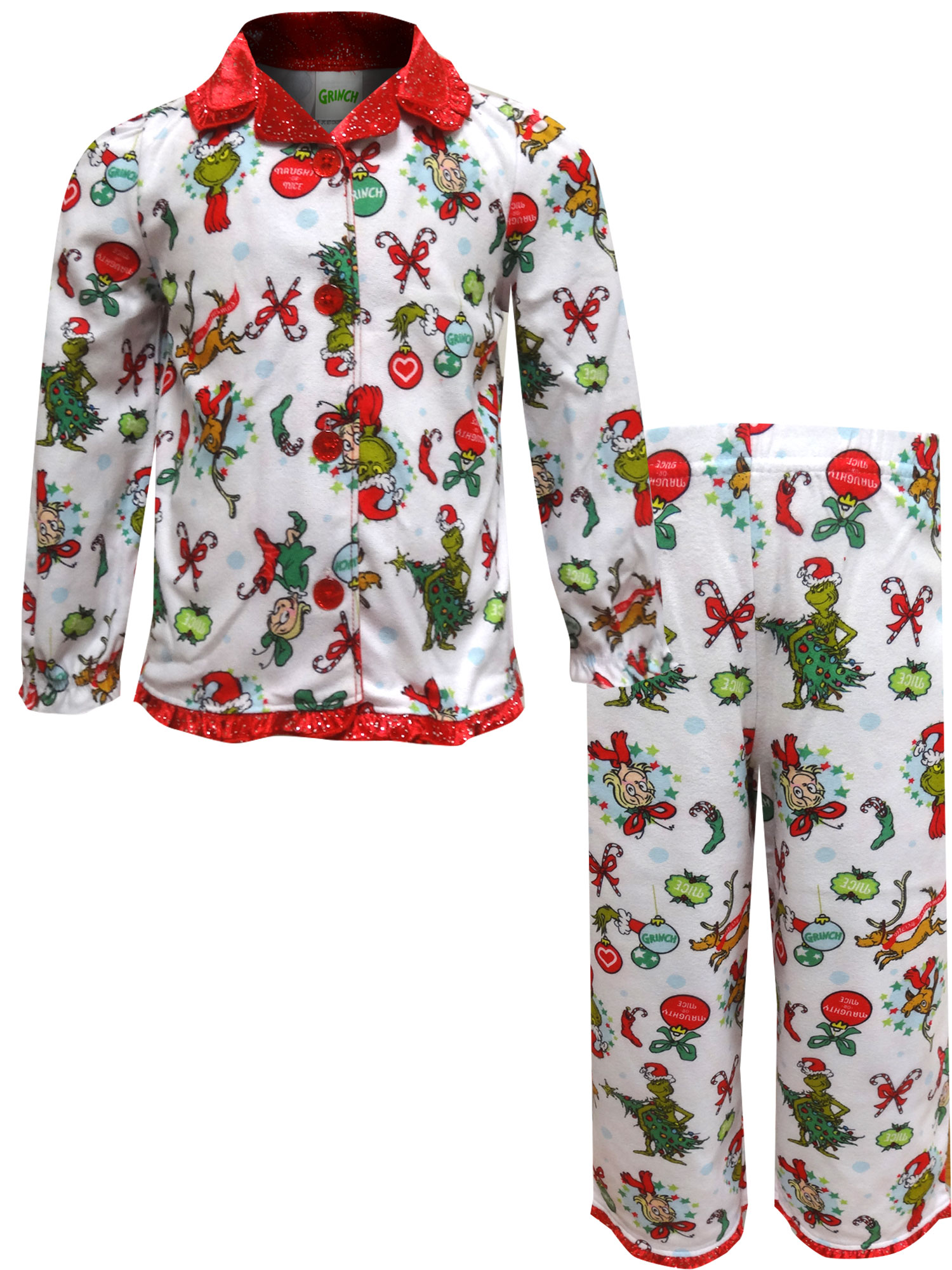 Image of Dr. Seuss The Grinch Traditional Toddler Girls Pajamas for girls