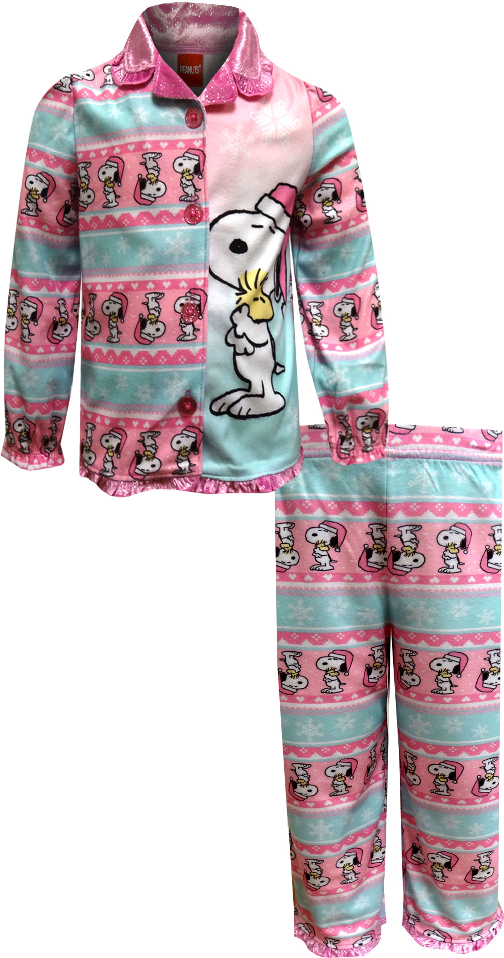 Image of Adorable Peanuts Woodstock Snoopy Christmas Pajamas for Toddler Girls