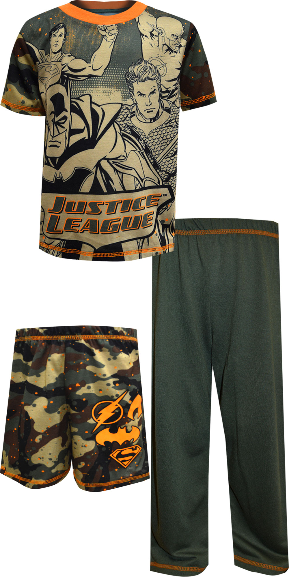 Image of Justice League Characters Camo 3 Piece Pajama Set for boys