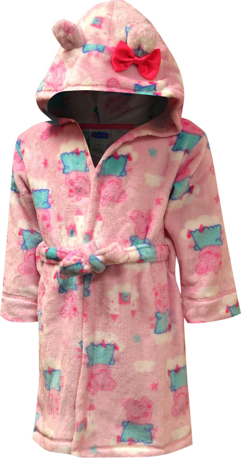 Image of Peppa Pig Pink Hooded Plush Toddler Robe for girls