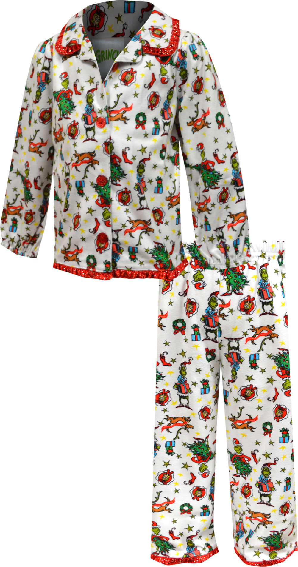 Image of Dr. Seuss The Grinch Toddler Girls Traditional Style Pajamas for girls